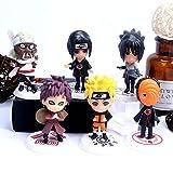 Naruto Cake Topper - Tomicy Naruto Mini Juego de Figuras Niños Mini Naruto Juguetes Ninja Fiesta de Cumpleaños Pastel Decoración Suministros 6 Piezas