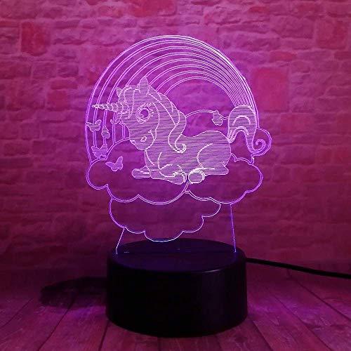 Veilleuse 3D Cartoon Cloud Little Pony Light led 7 Couleur Veilleuse Chambre Chambre Amis Amis Cadeau D'anniversaire De Noël avec Télécommande