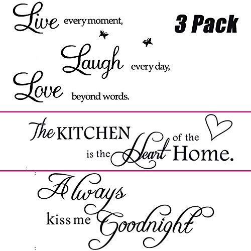 3 Pack Family Motivational Inspirational Wall Stickers Quotes Wall Decal Removable for Kitchen Bedroom Bathroom Living Room, Always Kiss, Kitchen is Heart, Live, Laugh, Love Beyond Words