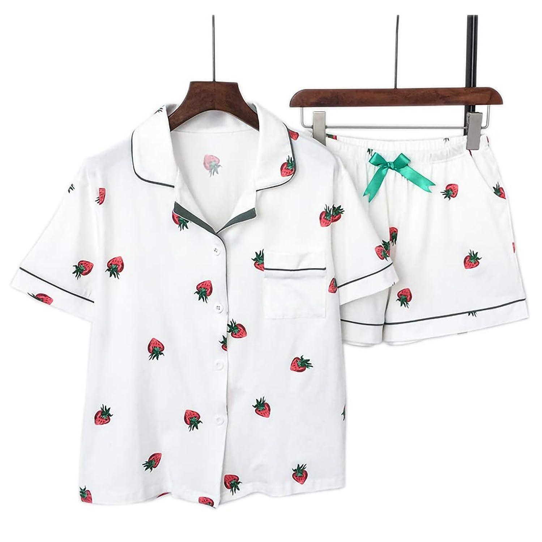 Diki Homeパジャマ レディース 前開きパジャマ ルームウェア ショートパンツ セット 部屋着 半袖 上下セット 綿100 夏 シャツパジャマ