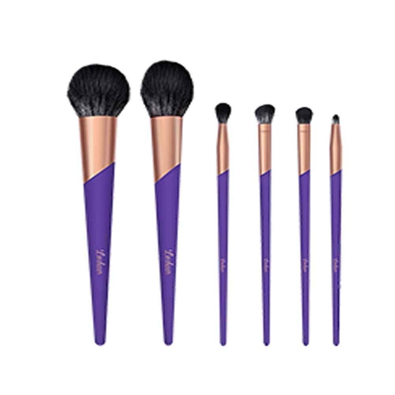 サラダ水没抑制Qiyuezhuangshi001 化粧ブラシ、化粧ブラシセット、初心者用の特別な化粧道具一式、化粧ブラシ6個、絶妙なギフトボックス、ギフトとして使用可能,人間工学に基づいたデザイン (Color : Purple)