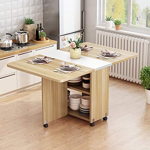 LHY Kitchen Mesa de Comedor móvil Plegable de Madera Maciza Creativa, Mesa de Comedor Rectangular Extensible, Sala de Estar, Cocina, Almacenamiento, Muebles para el hogar,Wood Color,140cm