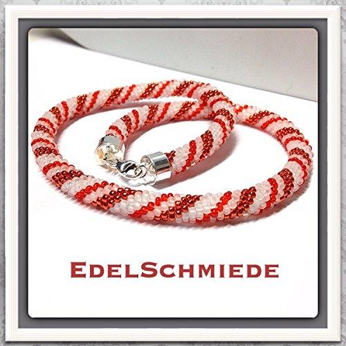 Schlauchkette aus Glasperlen gehäkelt 925/- Sterling Silber Schließe - weiß / orange - 41 cm