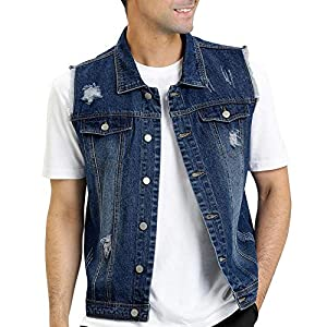 Men's Retro Ripped Denim Vest Sleeveless Punk Rock Trucker Jean Vest ...