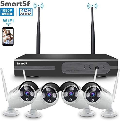 Kit de Seguridad WiFi Vigilancia Inalámbrica Sistema ,1080P 4CH HD NVR kit ,4 un 1080P CCTV Seguridad Cámara, 65ft Night Vision,P2P,Motion Detection,sin HDD(Compatible con cable e inalámbrico)