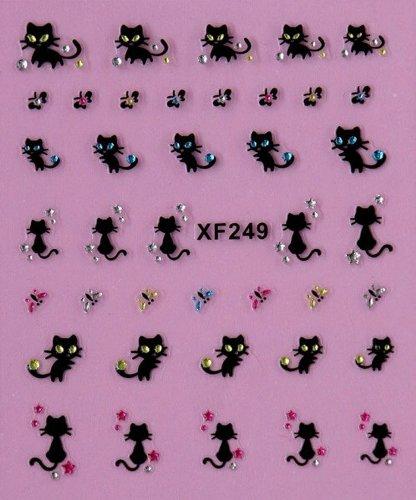 Hermione Hosmer Fleur SéRie Nail Art Autocollants De Transfert D'Eau Enveloppes ComplèTes Papillon/Chat Ongles Conseils Bricolage Black