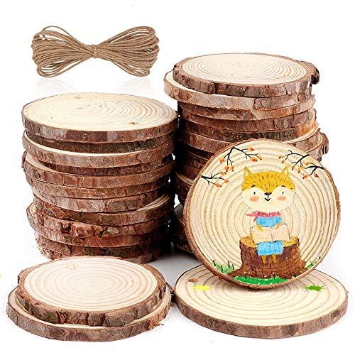Holzscheiben, 35 Stück Holz Log Scheibe mit Loch 6-8cm DIY Handwerk Holz-Scheiben mit 10M Jute Seil Naturholzscheiben Holz Deko Basteln Malen für Hochzeit Mittelstücke Ostern Dekoration Geschenk