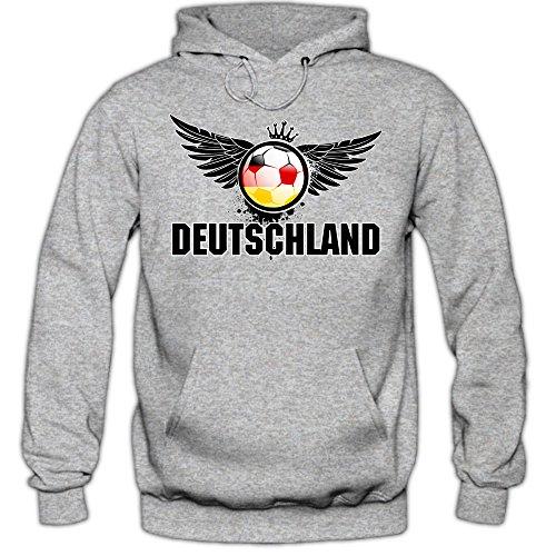 Shirt Happenz Deutschland EM 2016#3 Hoody | Fußball | Herren | Die Mannschaft | Trikot | Nationalmannschaft, Farbe:Graumeliert;Größe:XS
