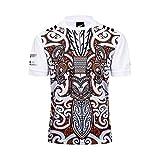 Maillot de Rugby pour Homme, T-Shirt en Maille pour Fan Maori des Noirs de Nouvelle-Zélande, été, 18-19 Shorts Maillot de Rugby pour Hommes, Hauts et Shorts-White-XL