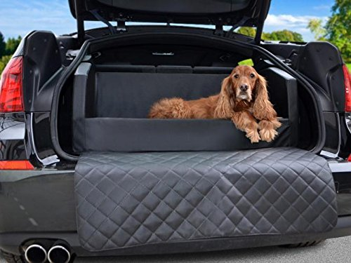 Auto Hundebett - Kofferraum Schutzdecke - Autoschondecke in Schwarz Kunstleder