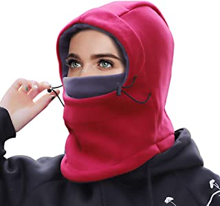 Balaclava Winter Hat for Women, Windproof Ski Face Mask, Neck Warmer Fleece Hood