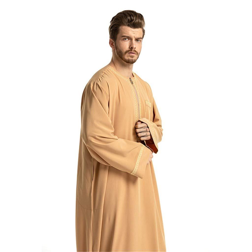 LILICAT✈✈ 2019 Bata Larga Musulmana de Estilo Nacional árabe Oriental Oriental para Hombre Hombres túnicas étnicas de Manga Larga islámica Oriente Medio Maxi Vestido Kaftan Gris, Blanco, Amarillo: Amazon.es: Deportes y aire