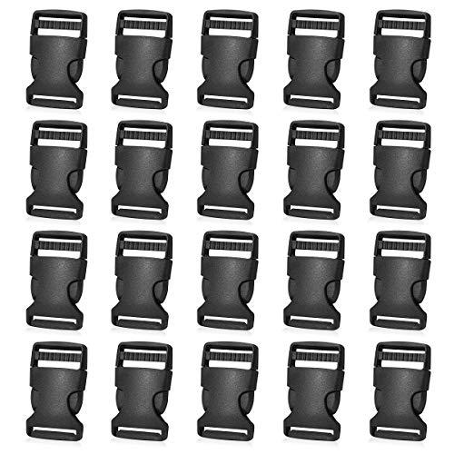 20 Pack Plastic Buckles 1 Inch Quick Side Release Buckles for Backpack Webbing Belt (Black)