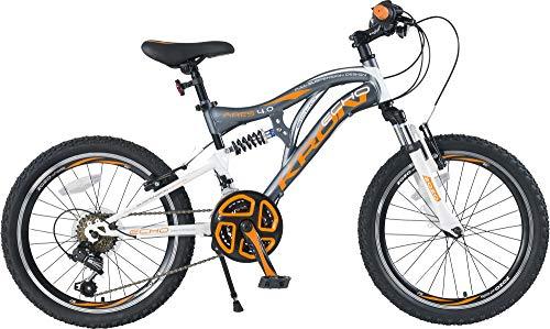 KRON ARES 4.0 Vollgefedertes Kinder Mountainbike 20 Zoll ab 6, 7, 8, 9 Jahre | 21 Gang Shimano Kettenschaltung mit V-Bremse | Kinderfahrrad 14 Zoll Rahmen Vollfederung | Grau Orange - 2