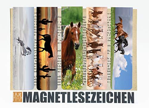 Lange Buch Lesezeichen Magnetisch 5 Stück 10cm x 2,5cm Page Marker Book Marks Magnet Klammer Line Markers Seiten Marker Clip Motiv Tiere Süße Pferde Geschenke Horse