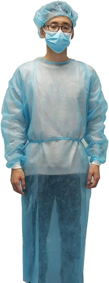 Disposable Isolation Gown with Knitted Over item handling Cuffs Sleeves P Long Blue Ranking TOP20