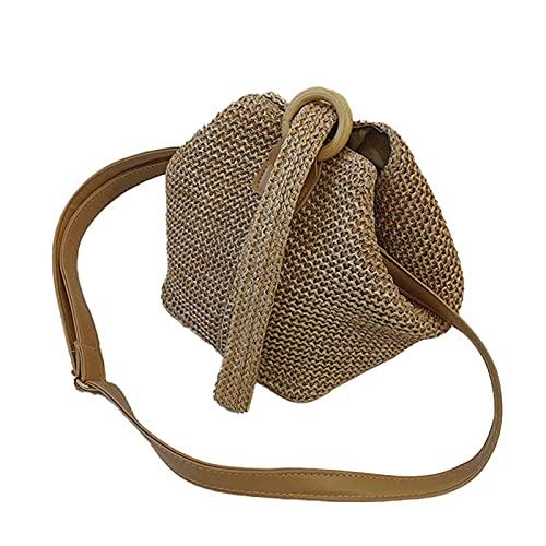 QKFON Bolsa de hombro de paja, embrague tejido hecho a mano, elegante anillo circular de paja bolsa para mujeres diarias
