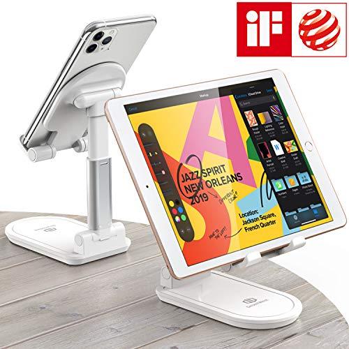 Handy Tablet Ständer, 【Einstellbare Höhe und Winkel】Zusammenklappbare Tisch Handy Halterung kompatibel mit 4-13inch Tablet/Handy usw. (Weiß)