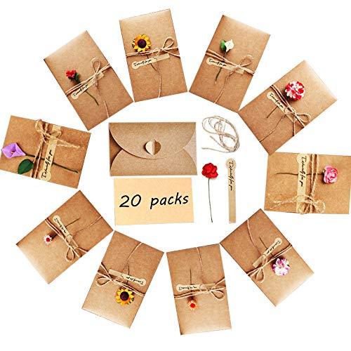 Nsiwem Einladungskarte 20 Stück Grußkarte Karte Kraftpapier Geburtstag Dankskarten Geschenk Umschlag mit leere Karte und handgemachter Blume für Geburtstag Valentinstag Muttertag (17.4x11cm)