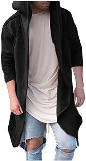 HEFASDM Mens Long-Sleeve Mid Long Pure Colour Cardigan Hood Outwear Coat