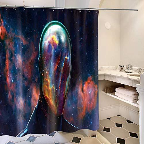 KDENDGGA Farbe Stary Sky Superman Duschvorhang Badvorhang Mit Haken Wasserwiderstandsfähiges Anti-Schimmel-Polyestergewebe 180 * 180Cm