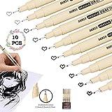 MERYSAN Micro-Line - Juego de 10 bolígrafos de precisión (5 tamaños, tinta fineliner, impermeable, tinta de archivo, caligrafía, tinta negra, para ilustración de artistas, bocetos, dibujo técnico