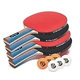 Killerspin JET SET 4 Ping Pong Paddle Set with 6 Balls – Beginner Table Tennis...