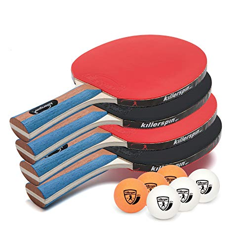 Killerspin JET SET 4 Ping Pong Paddle Set with 6 Balls – Beginner Table Tennis Racket Set| 5 Layer...