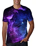 uideazone Mens 3D Nebula Star Cluster Short Sleeve T-Shirt Juniors Cool Tee Tops