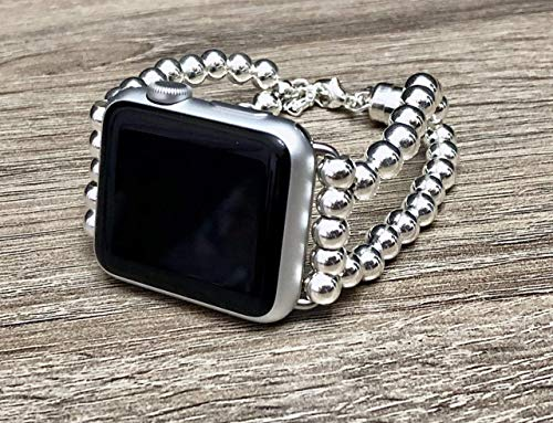 925 Sterling Silver Bracelet For Apple Watch 38mm 40mm 42mm 44mm Series 6 5 4 3 2 1 Handmade 6mm Luxury Beads Apple iWatch Band Safety Chain Dual Clasp Unique Design Adjustable Size Fashion Wristband