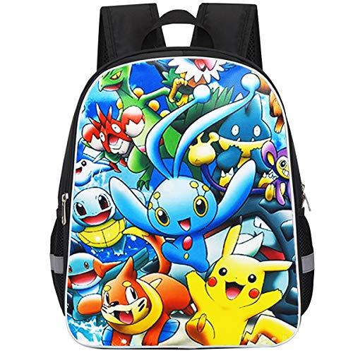 Pokemon Mochila Escolar ZSWQ-Pokemon mochila de viaje,Mochila Ligera para Niños para Estudiantes de Primaria Infantil para Colegio Viajes, Regalos para Niñas y Adolescentes