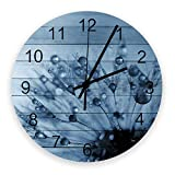 Home Reloj de pared redondo de madera vintage silencioso de 10 pulgadas, diente de león con gotas de agua, fácil de leer y funciona con pilas, reloj que no hace tictac para oficina / cocina / dormitor