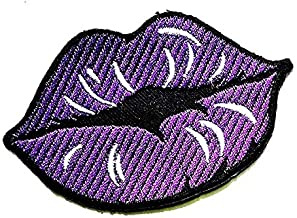 Nipitshop Patches Women Kiss Me Purple Lips Biting Lips Lipstick Cosmetic Sequin Cartoon Kids for Clothes Backpacks T-Shirt Jeans Skirt Vests Scarf Hat Bag