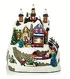 LED Musical animada tradicional Village nieve escena de Navidad con tren en movimiento–Polo Norte taller