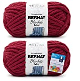 Bernat Blanket Extra Yarn Crimson, Jumbo Gauge #7, 2-Pack Bundle with Bella's Crafts Stitch Markers
