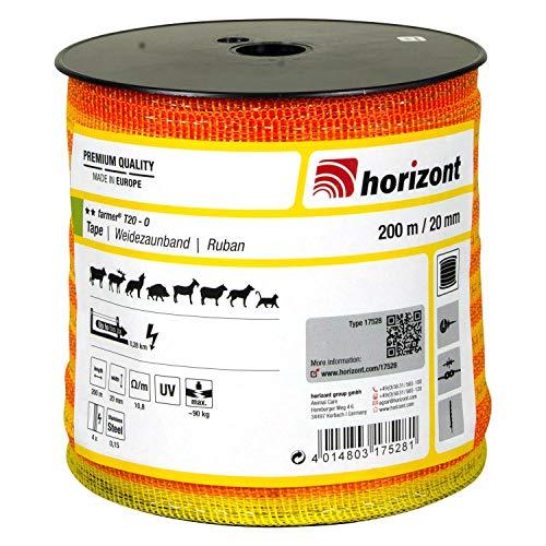 horizont Weidezaunband farmer T20-O, 200 m lang, 20 mm breit, Breitband Litze, Weidezaun Strom, Elektrozaun, für kurze Zäune, 90 kg Bruchlast, Band, Litze Weidezaun