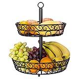 TOROTON Frutero de 2 Pisos, Cesta de Frutas metálica para mostrador y Organizador Cocina, Cesta para Verduras y Frutas - Negro