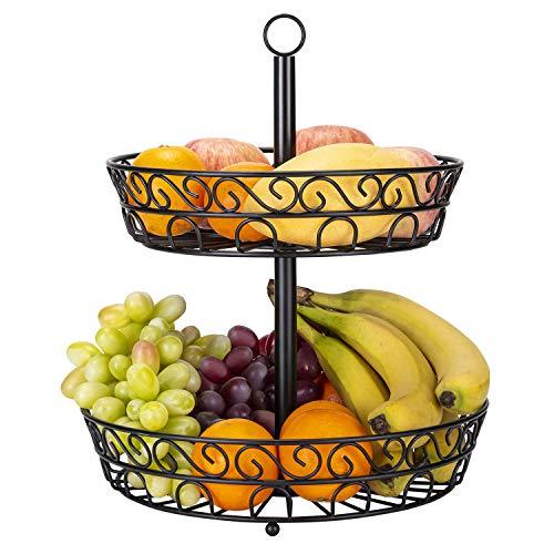 TOROTON Alzatina Portafrutta, Espositore per Frutta in Acciaio Inox, Alzatina Cucina a Due Piani per Frutta e Verdura