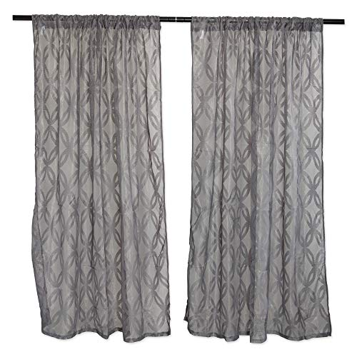 DII Sheer Lace Decorative Curtain Panels for Bedroom, Living Room, Guest Room, or Formal Sitting Areas, Light & Airy to Filter Sunlight Into Room, (Set of 2, 50 x 63) Gray Lattice