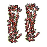 FiveBull Reptiles Plants,2 Pieces Hanging Silk Terrarium Leaves for Reptile & Amphibian Habitat Décor Ornaments with Suction Cup for Bearded Dragons,Lizards,Geckos,Snake Pets Tank Habitat Decorations