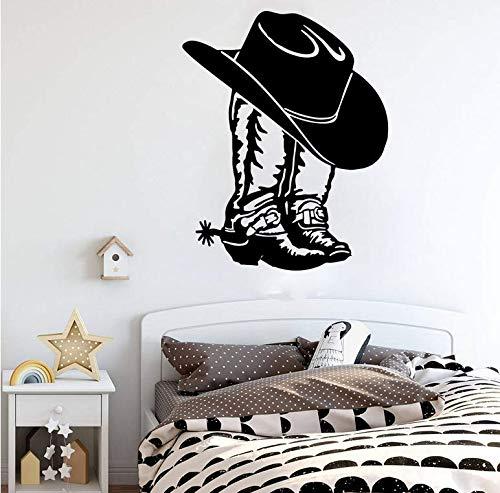 Cowboy Cowboy Laarzen Western Schoen Auto Laptop Muursticker Applique Cowboy Cowboy Laarzen Vinyl Decoratie 56x45cm