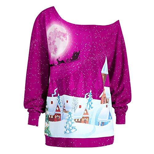 Mode Femmes Unisexe Rudolph Imprimer D Pull Noël Vêtements Noir De Friday Cyber Lundi Noël Black Friday Cyber Lundi (Color : Hot Pink, Size : XL)