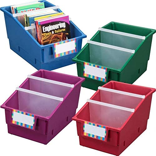 Really Good Stuff 4 Pack Single Color Picture Book Classroom Library Bins with Dividers