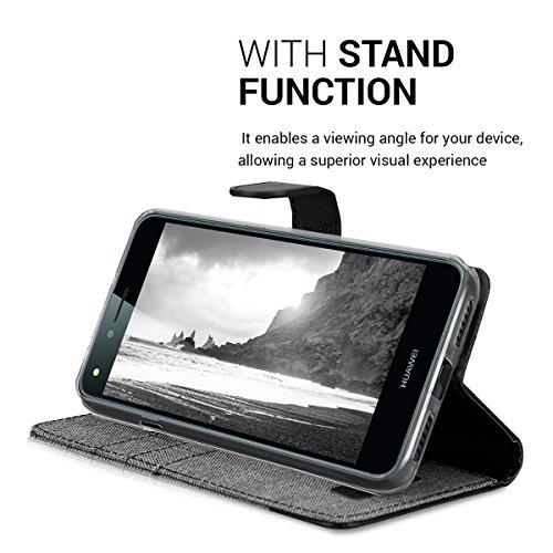 kwmobile Huawei Y6 II Compact (2016) Hülle - Kunstleder Wallet Case für Huawei Y6 II Compact (2016) mit Kartenfächern und Stand - Grau Schwarz - 6