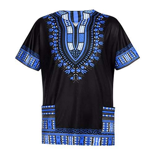 YWLINK Hombres Verano Vintage Estampado Africano Bolsillos De Manga Corta O Cuello Tops Camisas Blusas Traje De Rendimiento Fiesta De Bodas Chaleco Diario De Ocio