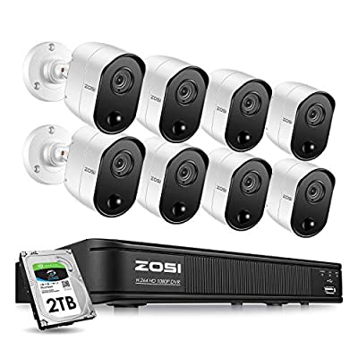 ZOSI 1080p 8 Channel Security Camera System for Home, CCTV DVR with Hard Drive 2TB and 8 x 2MP Surveillance Bullet Camera Outdoor Indoor with PIR Motion Sensor,Day Night Vision,Remote Access
