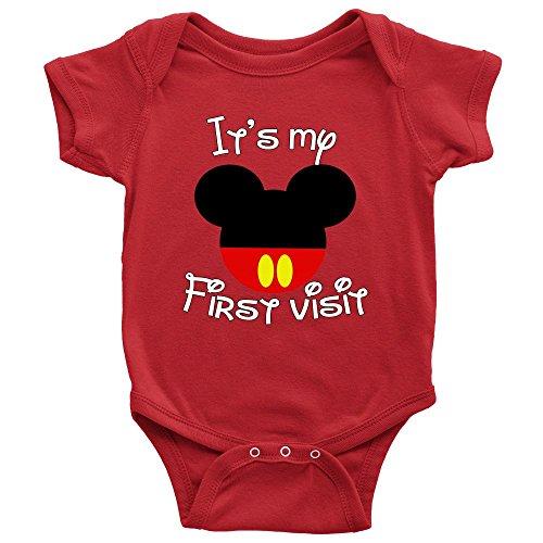 It's My First Visit Baby Bodysuit Romper Onesie Red