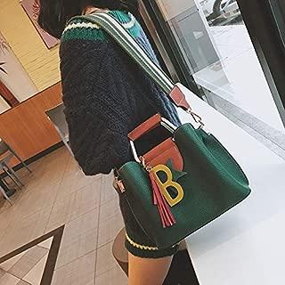 WTYD Single Shoulder Bag Casual PU Leather Litchi Texture Shoulder Bag Messenger Bag Ladies Handbag (Color : Green)