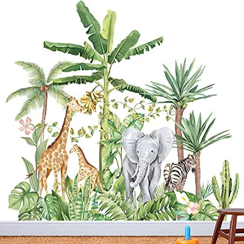 Taglia larga Adesivi Murali Animali Foresta Albero Adesivi,Stickers Murali Bambini,Adesivi Muro Albero Cervo Bambini Asilo Nido Camera da Letto Decorazioni Parete(H:104cm)
