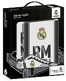 Safta Real Madrid - Set con 1 bloc de tapa dura, 1 carpeta 1 portatodo, 28 x 35 x 60 cm